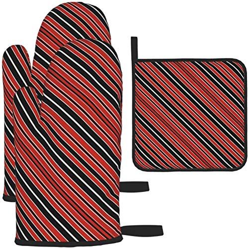 MODORSAN con Rojo, Negro y Blanco, Rayas paralelas diagonales, Guantes para Horno, Resistentes al Calor y Porta ollas, Juegos, Guantes para microondas