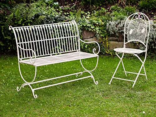 Nostalgie Gartenbank Lilie fleur de lis Eisen Antik-Stil creme weiss iron garden - 8