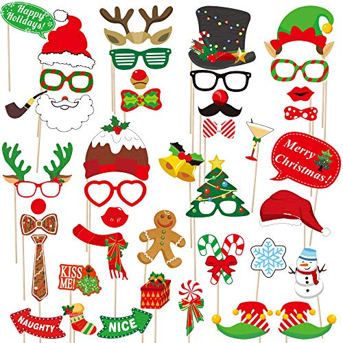 2020 Christmas Photo Booth Props – 42 Pack DIY Xmas Photography Decorations - Funny Selfie and Photo Prop Pack for Christmas and New Year Party – Winter Holidays Supplies for Kids and Adults by dizaul