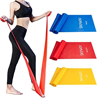 Skywoo Exercise Band Set, Long Latex Elastic Bands Wide Fitness Resistance Bands for Pilates, Gym, Physical Therapy, Yoga, Strength Training