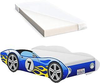 iGLOBAL Lit pour enfant Cars - Lit pour enfant - Avec sommier à lattes - Matelas en mousse - 140 x 70 cm - Bleu