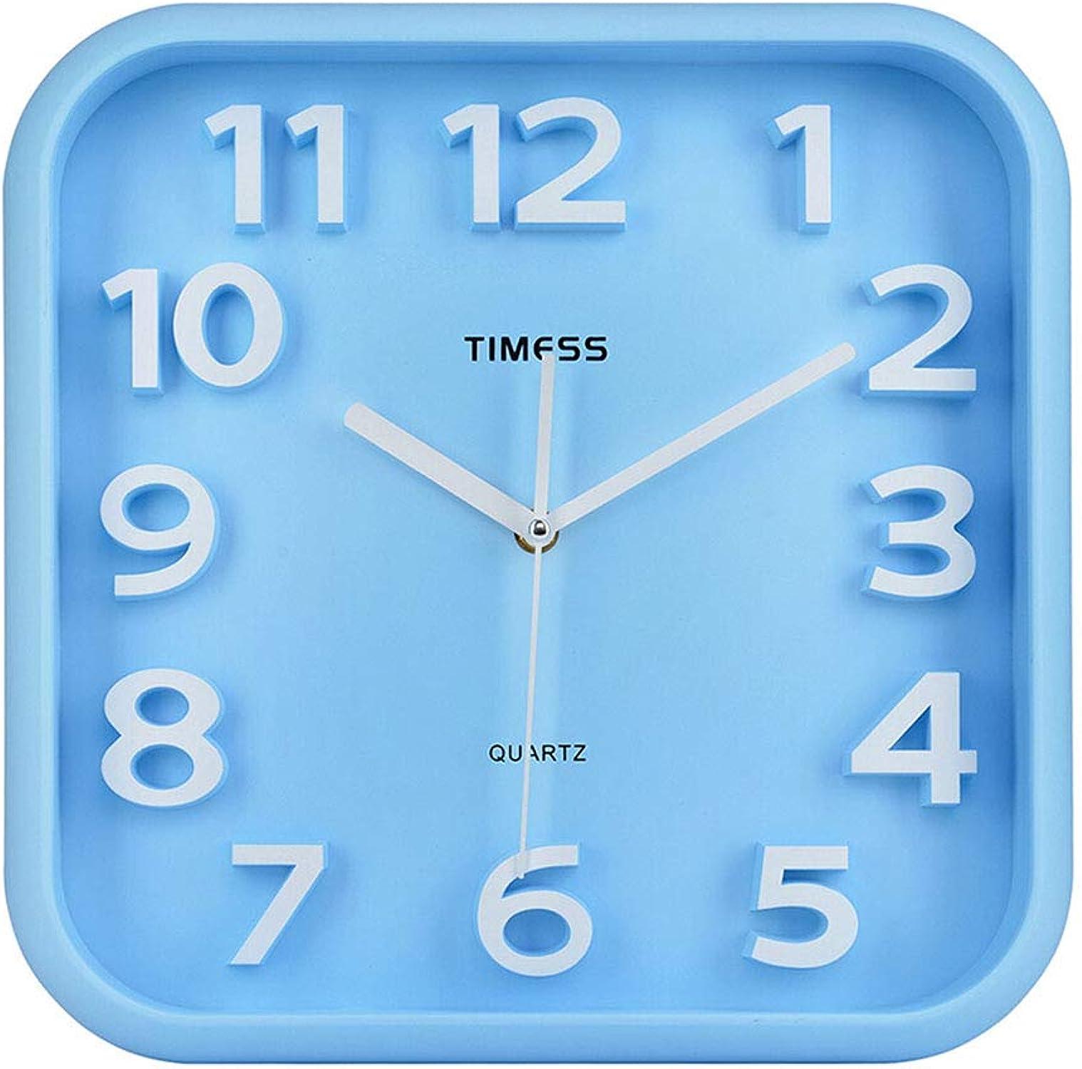 Hlia-Clocks Reloj de Parojo de 13 Pulgadas, Moda Simple, estéreo 3D, Creativo, Sala de Estar, Mesa, Dormitorio, Reloj de Cuarzo silencioso (Color   Azul)
