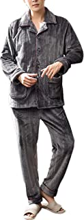 AAAbath Pijama 2 Piezas Conjunto Masculino del Otoño Y del Invierno De Manga Larga Gruesa Coralina del Paño Caliente Más El Tamaño De Home Use El Sistema Ocasional (Color : Gray, Size : XL)