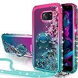 Miss Arts Funda Galaxy S7 Edge,[Silverback] Carcasa Brillante Purpurina con Soporte giratorios, Transparente Cristal Telefono Fundas Case Cover para Samsung Galaxy S7 Edge -Verde