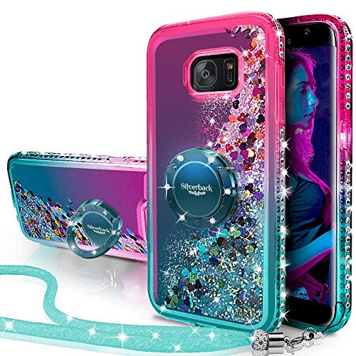 Galaxy S7 Active Case, Silverback Moving Liquid Holographic Sparkle Glitter Case with Kickstand, Bling Diamond Rhinestone Bumper W/Ring Stand Slim Samsung Galaxy S7 Active Case for Girls Women -Green