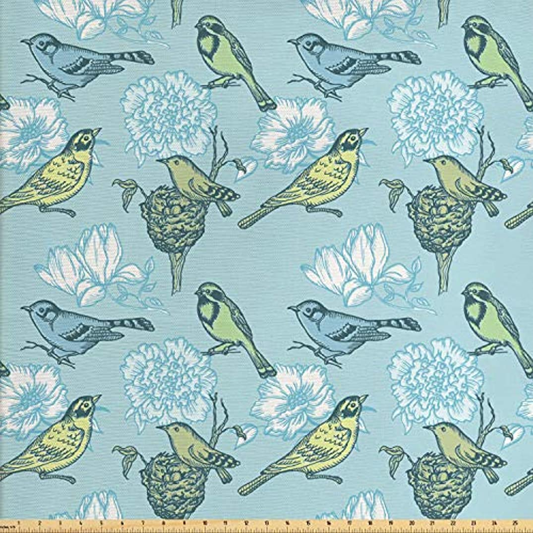 Lunarable Birds Fabric by The Yard, Mother Bird and Her Eggs Resting in The Nest on Abstract Floral Background, Decorative Fabric for Upholstery and Home Accents, 3 Yards, Pale Green Pale Blue