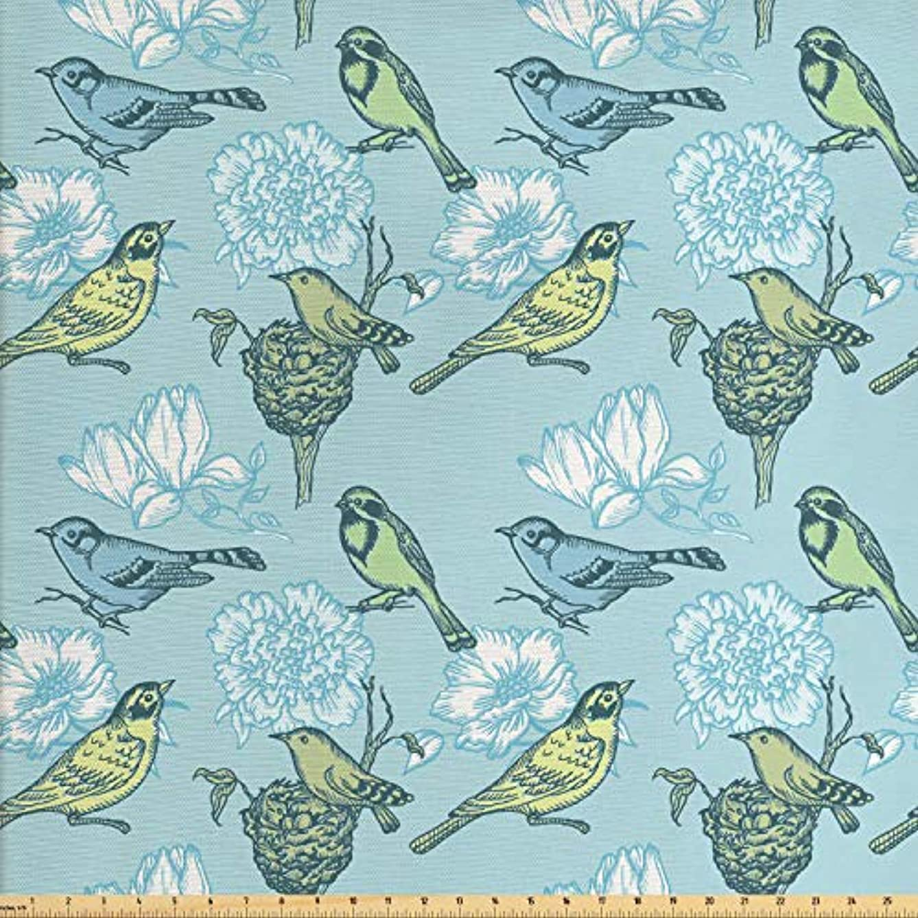 Lunarable Birds Fabric by The Yard, Mother Bird and Her Eggs Resting in The Nest on Abstract Floral Background, Decorative Fabric for Upholstery and Home Accents, 2 Yards, Pale Green Pale Blue