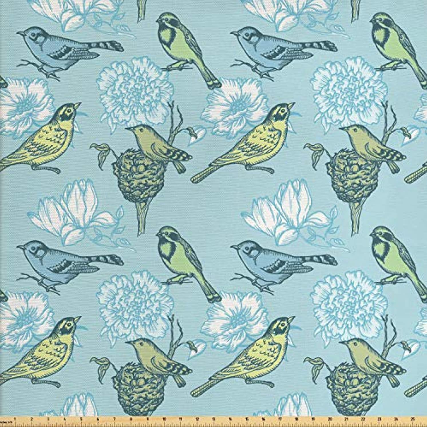 Lunarable Birds Fabric by The Yard, Mother Bird and Her Eggs Resting in The Nest on Abstract Floral Background, Decorative Fabric for Upholstery and Home Accents, 1 Yard, Pale Green Pale Blue