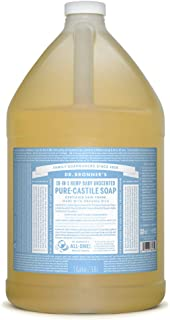Dr. Bronner's - Pure-Castile Liquid Soap (Baby Unscented, 1 Gallon) - Made with Organic Oils, 18-in-1 Uses: Face, Hair, Laundry and Dishes, For Sensitive Skin and Babies, No Added Fragrance, Vegan