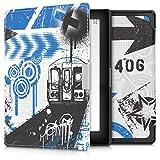 kwmobile Hülle kompatibel mit Kobo Aura Edition 1 - Kunstleder eReader Schutzhülle Cover Case - Graffiti Bahn Blau Schwarz Weiß