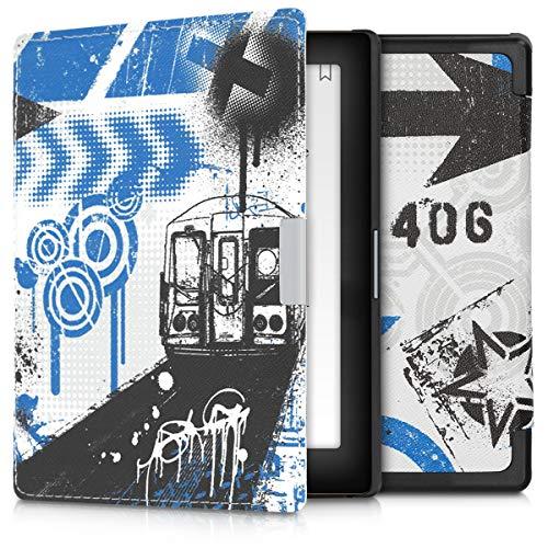 kwmobile Custodia Compatibile con Kobo Aura Edition 1 - Cover in Simil Pelle Magnetica Flip Case per eReader Blu/Nero/Bianco/Bianco