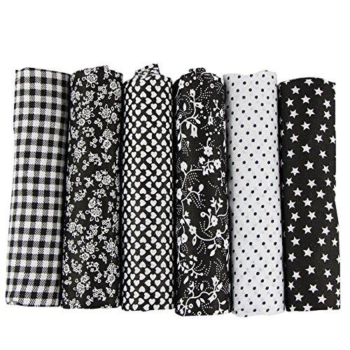 aufodara 6 Stueck 50 x 50cm Stoffpakete Patchwork Stoffe Baumwolle tuch DIY Handgefertigte Nähen Quilten Stoff Baumwollgewebe Verschiedene Designs (schwarz)