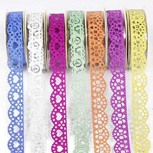 UOOOM 7 Rolle Washi Tape schöne Spitze Glitter Film Masking Tape Durchbrochene Muster deko Klebeband buntes Klebebänder DIY Scrapbook deko (Design 4002)