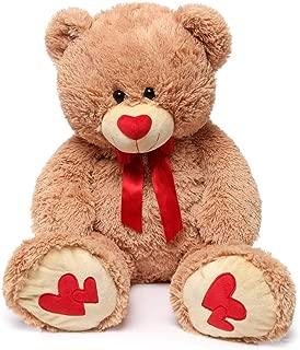 MorisMos Giant Teddy Bear with Red Love Footprint Soft Brown Bear Stuffed Animal Plush Bear for Girlfriend Kids,35 Inches