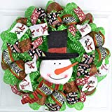 Snowman Wreath | Christmas Mesh Front Door Wreath | White Red Black Lime Green