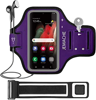 Galaxy S21 S20 Armband, JEMACHE Gym Running Exercises Workouts Phone Arm Band for Samsung Galaxy S20/S21 5G with Key Holde...