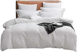 Lausonhouse Seersucker Duvet Cover Set,Yarn Dyed Seersucker Weave Striped Bedding Set,3 Pieces- White- Full/Queen
