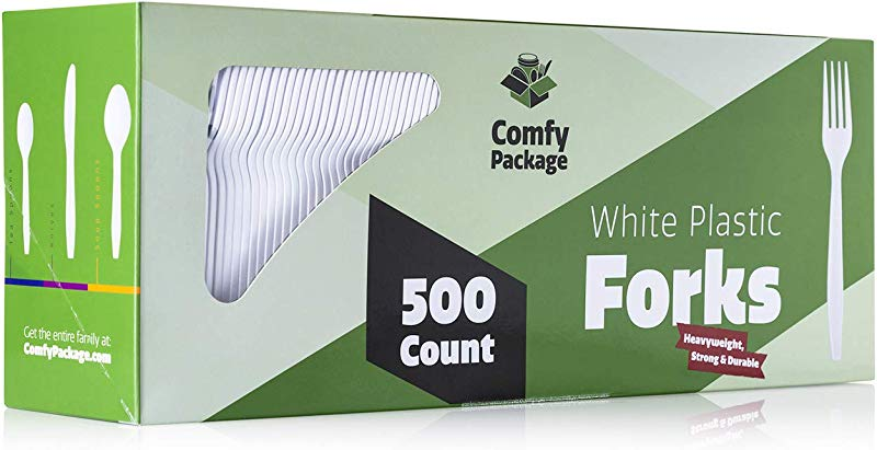 500 Pack Extra Heavyweight Disposable White Plastic Forks
