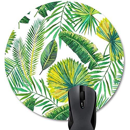 Palmbladen groen wit achtergrond muismat rond van rubber antislip cirkelvormig schattig