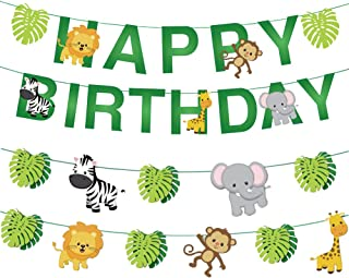 34pcs Jungle Animals Leaves Happy Birthday Banner Decoration Set for Woodland Garland Forest Theme Birthday Festival Party