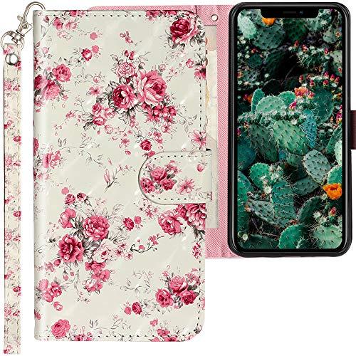 CLM-Tech Hülle kompatibel mit Apple iPhone 12   iPhone 12 PRO - Tasche aus Kunstleder - Klapphülle mit Ständer und Kartenfächern, Rosen Muster