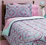 Mytex Thalia 11-Piece Bag, Comforter with Sheets Medallion, Bohemian, Boho Chic, Microfiber, Teen, Girls, Bedding, Full, Purple/Aqua