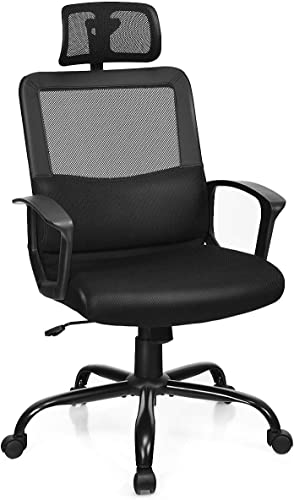 lowest Giantex outlet sale Mesh Office Chair, High Back Office Chair with Lumbar Support, Swivel Computer 2021 Task Chair, Adjustable Armrests, Height and Headrest Ergonomic Desk Chairs (Black) online