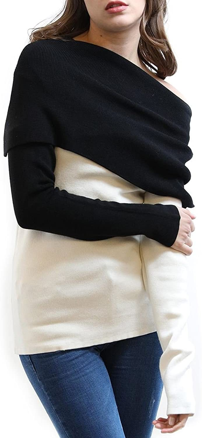 Central Park West  St. Marks Fold Neck Sweater  Black White