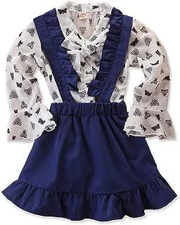 KIDSA 2-7T Baby Toddler Little Girls Outfits Long Sleeve Chiffon Shirt Tops + Ruffles Suspender Skirts Clothes Set