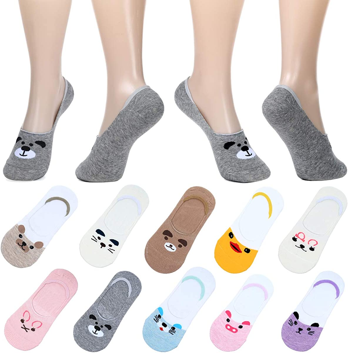 10-pack Women Cute No Show Liner Socks for Flats Slip on Shoes Invisible Hidden Low Profile for Boat Shoe