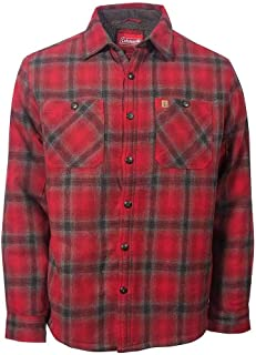 Coleman Flannel Sherpa Shirt Jacket Red Charcoal Medium