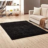 Ommda Alfombras Salon Pelo Largo de habitacion Rectángulo Modernas Negro 60x160cm