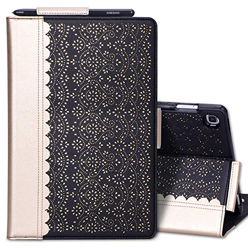 WWW Samsung Galaxy Tab S5e 10.5 Case,[Luxury Laser Flower] Premium PU Leather Case with Auto Wake/Sleep Feature and Multiple Viewing Angles for Galaxy Tab S5e Tablet(SM-T720/T725) 2019 Release Black