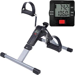 Himaly Mini bicicleta de ejercicio portátil casa pedal ejercicio gimnasio fitness brazo de entrenamiento cardiovascular resistencia ajustable con pantalla LCD para mujeres y hombres