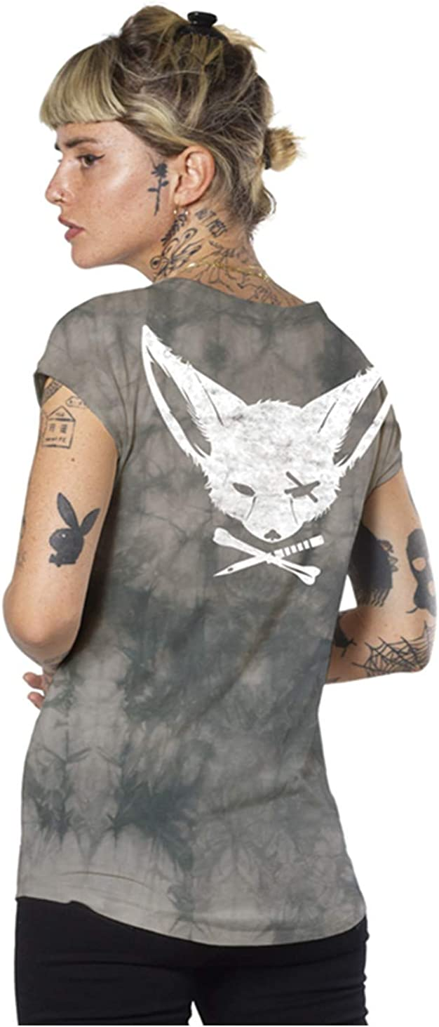 Women's Print T-Shirt Cross Bone and Tun Washington Mall Urban Pirate Fox Dagger Sale item