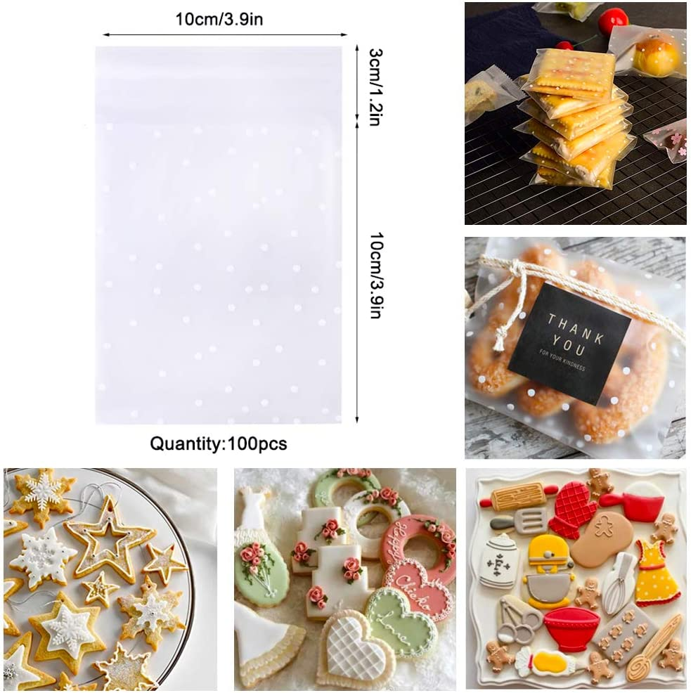 Fruits Vegetables Shape-B with 100 Pcs 4 Inch Self Adhesive Treat Bag Cookie Bags Geometric Shapes Biscuit Molds for Cakes SITAKE 24 Pcs Mini Metal Cookie Cutters Set