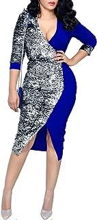 IyMoo Women Glitter Bodycon Sequin Dress - V Neck Sexy Sparkly Split Cocktail Party Dress