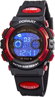 Kid Watch for Child Boy Girl LED Multi Function Sport Outdoor Digital Dress Waterproof Alarm Red