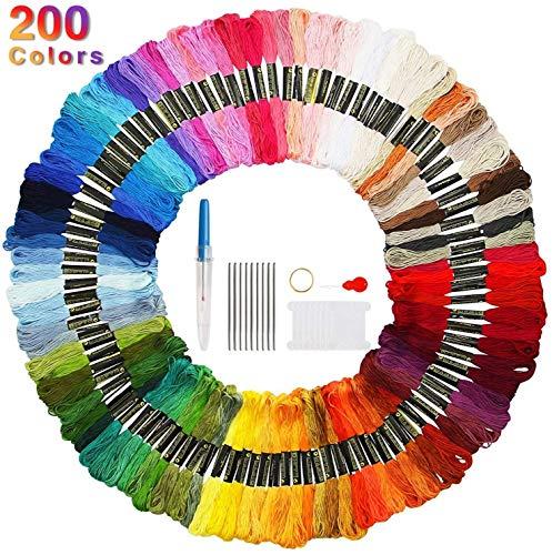 Faminess 200 Madejas Bordado Hilos de Aleatorio Colores Algodón Bordado Kit para Costura Punto de Cruz