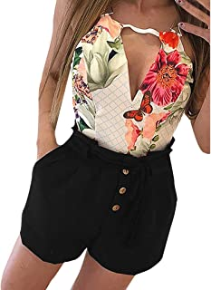 Garood Women Summer Casual Solid Sexy Band Slim Pocket Zipper Lightweight Hiking Hot Short Pants