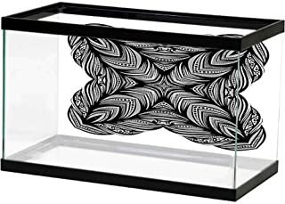 bybyhome Aquarium Background Sticker Vector Beautiful Deco Black Flower Patterned Design Element Decorate Fish Tank