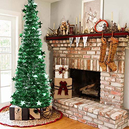 Vohoney Árbol de Navidad artificial plegable con lentejuelas, árbol de Navidad artificial para verde 1, 150 cm