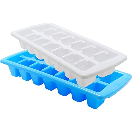 Kuber Industries 14 Cubes Plastic Unbreakable Virgin Plastic Ice Cube Tray (Set of 2,Multi)-KUDMART3210