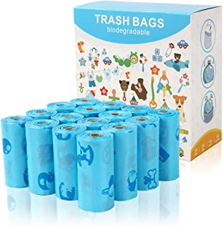 Benbenpet 240 Counts Diaper Disposal Bag Compostable Baby Disposable Diaper Sacks Poop Bags for Baby with Blue Pouch Easy-...