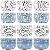 Darware Boho Metal Candle Tins (12 Pack, 4 Designs); 2oz European Style Containers for Storage, Parties, Weddings, Jewelry, Candy and Tea Stash