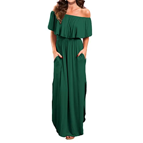 c9ff7eecc58f VERABENDI Women's Off Shoulder Summer Casual Long Ruffle Beach Maxi Dress  with Pockets