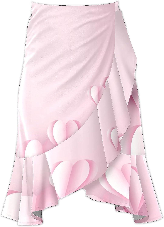 Women's Love Heart Flying On Pink Background Irregular Hem Ruffle High Low Split A Line Midi Wrap Skirt