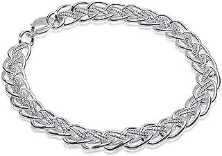 MATERIAL dam armband silver 925 dubbelpansarkedja 6 mm 14,1 g rhodinerad 18-23 cm justerbar längd + box #SA-28