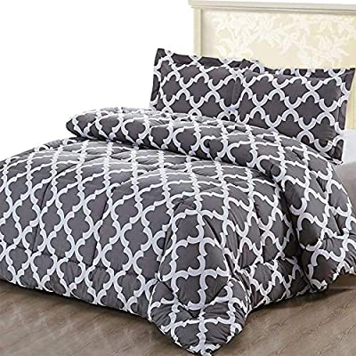 Utopia Bedding Printed Comforter Set (Queen, Grey) with 2 Pillow Shams - Luxurious Brushed Microfiber - Down Alternative Comforter - Soft and Comfortable - Machine Washable by Utopia Bedding