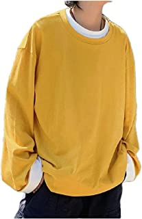 Howely Men Fine Cotton Pullover Long-Sleeve Active Comfy Baggy Sweatshirts